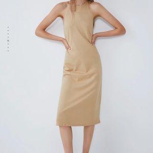 Zara camel tan racer neck halter style dress